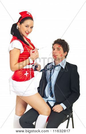 Sensual  Nurse Woman With Syringe
