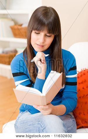 Teenager Girl Home - Student Write Homework