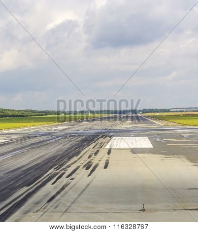 Detail Of Runway With Pattern Of Wheels