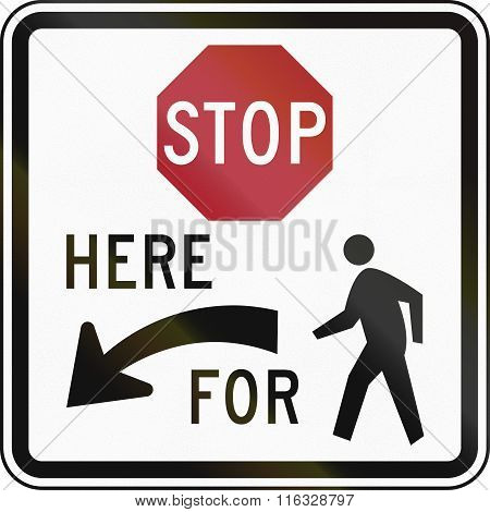 United States Mutcd Regulatory Road Sign - Stop Here For Pedestrians