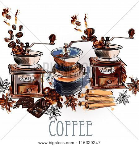 Coffee Vector Background With Coffee Grinder Anise Stars And Roasted Beans In Engraved And Watercolo