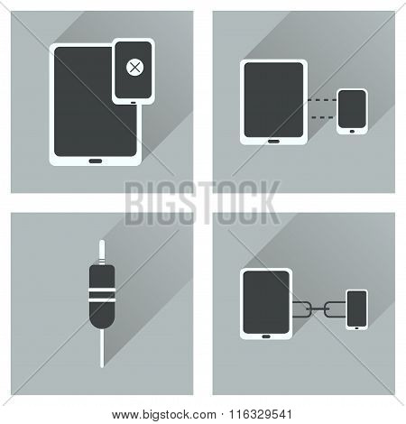 Concept of flat icons with long shadow Gadgets
