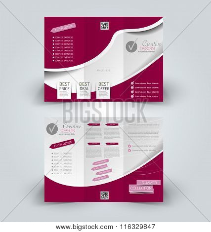 Brochure Mock Up Design Template For Business, Education, Advertisement. Trifold Booklet Editable Pr