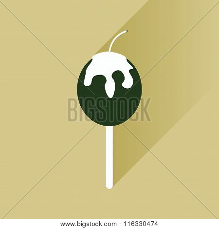flat icon with long shadow baked apple