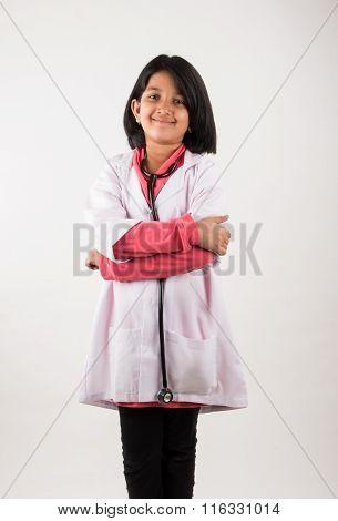 little girl doctor with stethoscope, indian girl child, asian girl