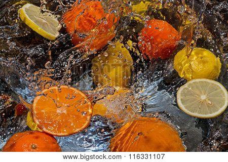 Citrus Fruits Orange, Tangerine And Sliced Lemon