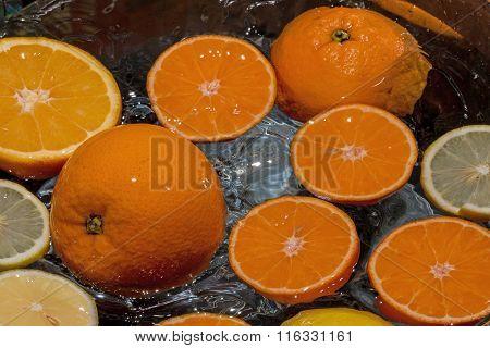 Orange And Sliced Lemon And Tangerine