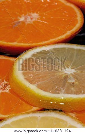 Sliced Lemon Is Floating In Water