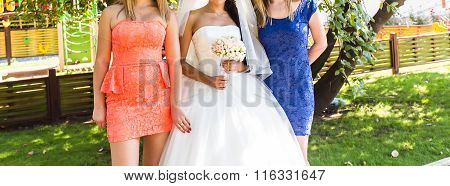 Bride, row of bridesmaids with bouquets at big wedding ceremony.