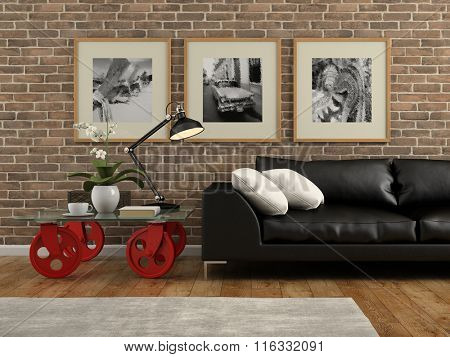 Part of  interior with brick wall 3D rendering