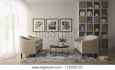 Interior of modern room  with three posters on the wall  3D rendering