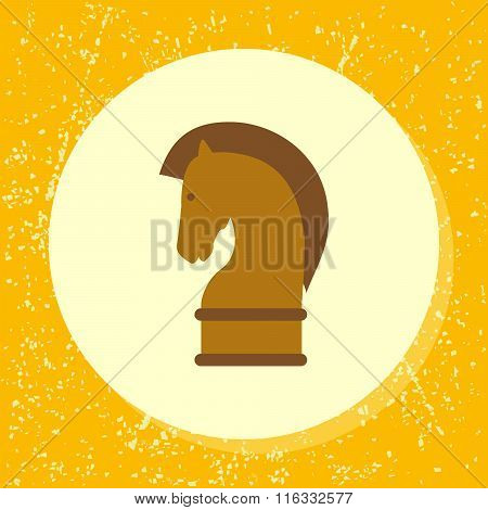 Vector Round Icon Chess Horse Piece Symbol Of Strategy, Strategic, Strategical In Flat Design