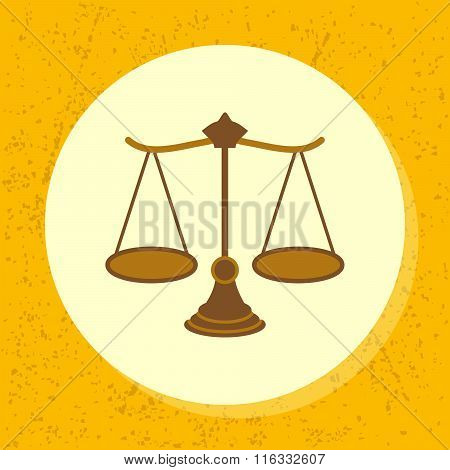 Vector Round Icon Woody Scale Symbol Of Legal, Court, Ruling, Claim, Judiciary And Medical