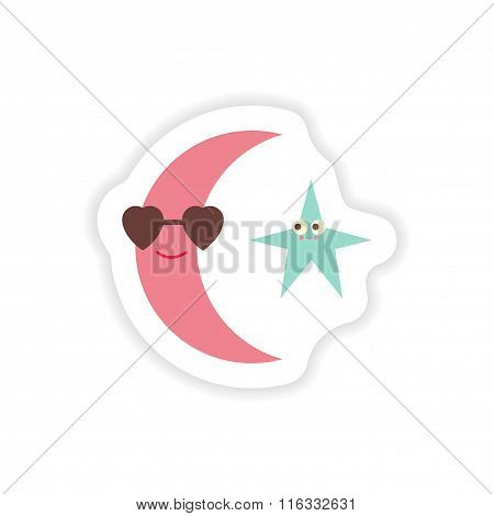 stylish paper sticker on white background moon and star