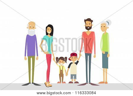 Big Family Kids Parents Grandparents Generation
