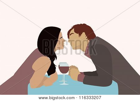 Couple Sitting Cafe Table Drink Wine Kiss Romantic Date