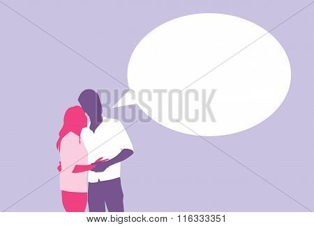 Silhouette Couple Lovers Embrace With Chat Box