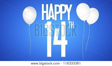 Happy Birthday Card - Boy With White Balloons - 14 Years Greeting Postcard - Illustration Anniversar