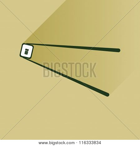 flat icon with  long shadow sushi roll and chopsticks