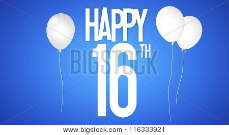 Happy Birthday Card - Boy With White Balloons - 16 Years Greeting Postcard - Illustration Anniversar