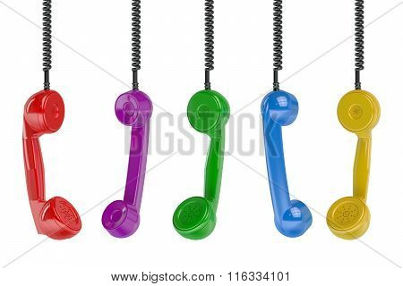 Multi Colored Handset In The Row