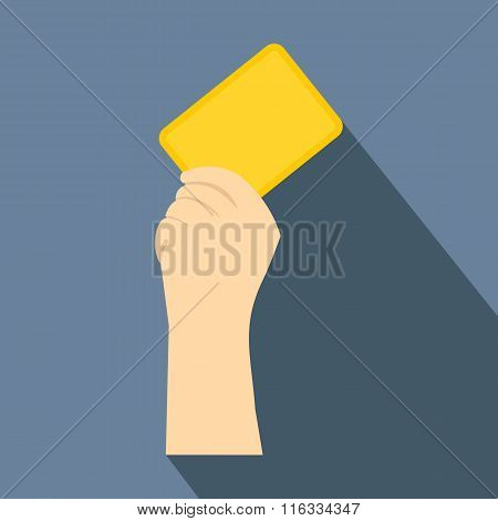 Referee showing yellow card flat icon