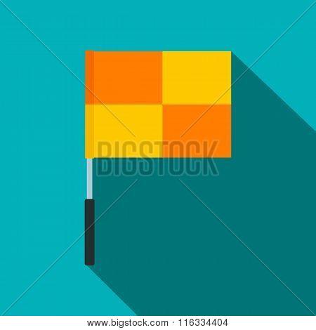 Yellow flag on flagpole  flat icon