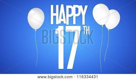 Happy Birthday Card - Boy With White Balloons - 17 Years Greeting Postcard - Illustration Anniversar