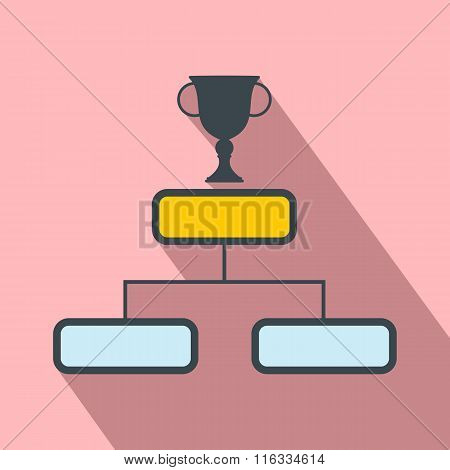 Trophy cup on a prize podium flat icon