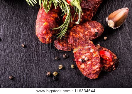 Sausage Chorizo. Spanish traditional chorizo sausage, with fresh herbs, garlic, pepper and chili pep