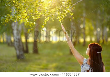Beautiful Young Woman With Regard To Branches Of The Trees.