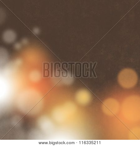 Abstract retro background brown orange with blurred bokeh lights