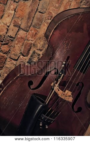 Contrabass In Front Of Brick Wall Background.