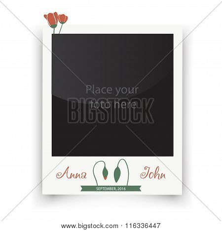 Vintage wedding frame with flowers. Template for photo of the bride and groom. Vector illustration