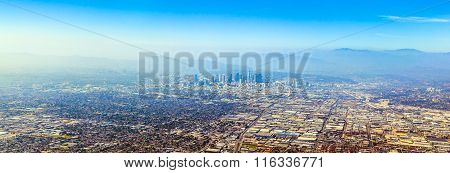 aerial of Los Angeles, USA  in fog