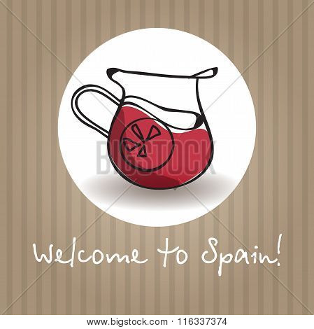 Vector sangria illustration. Traditional Spain