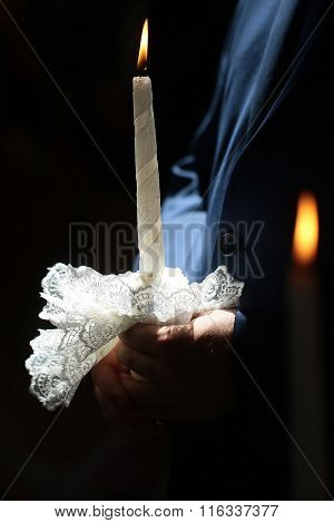 Burning Wedding Candle