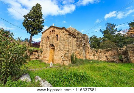 byzantine church on ancient temple ruins near Koroni, Peloponnese