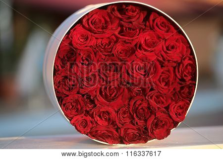 Round Bunch Of Red Roses