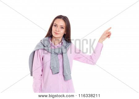 Young woman pointing up with forefinger, isolated on white background