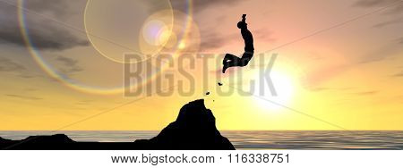 Concept or conceptual 3D young man or businessman silhouette jump happy from cliff over water gap sunset or sunrise sky background banner