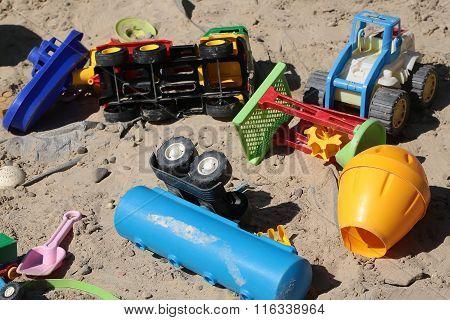 Many Toys On Sand