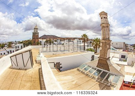 Teguise, Lanzarote, Canary Island, Church Iglesia De Nuestra Senora De Guadalupe And Chimney Of  Mus