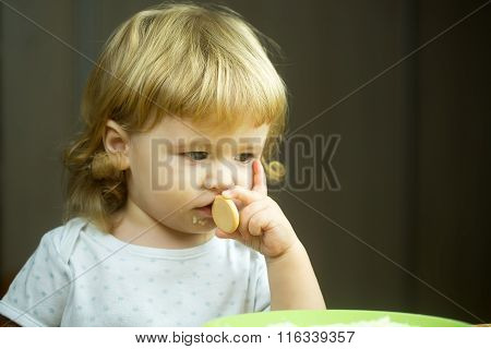 Cute Little Boy Eating