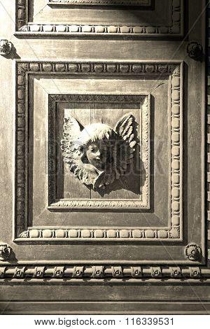 Abstract Statue Of Angel     Texture Of     Brown  Antique Wooden     Old Door