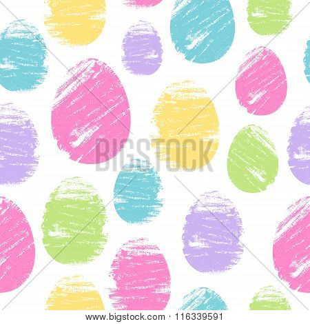 Colorful easter eggs seamless background. Brush strokes design vector illustration pattern.