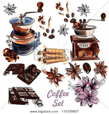 Vector Set With Coffee Grinder Anis Stars And Roasted Beans In Engraved And Watercolor Styles