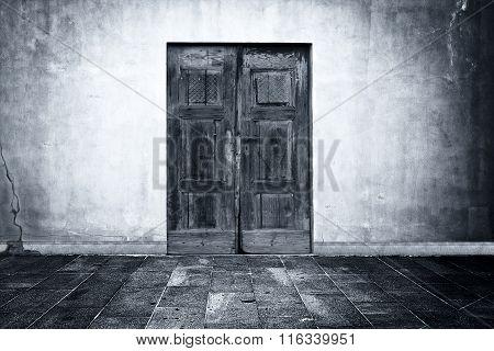 Mysterious door in empty room
