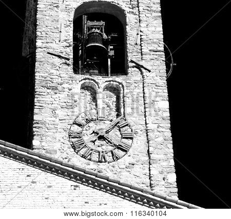 Antique  Building  Clock Tower In Italy Europe Old  Stone And Bell