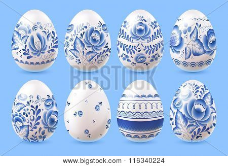 Easter eggs set with blue pattern design.